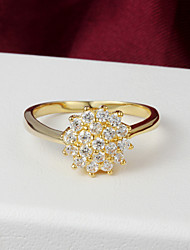 High Quality Shining Gold Plated Clear Rhinestone Flower Shaped Women's Ring