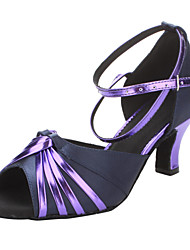 Non Customizable Women's Dance Shoes Latin/Ballroom Satin/Leatherette Chunky Heel Purple