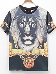 Men's 3D Series Red Eye a Lion Printing T-Shirt