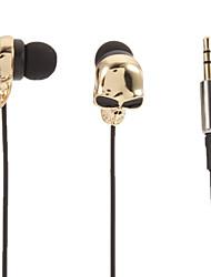 Skull-Shaped Stereo In-Ear Headphone(Gold)