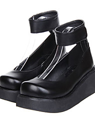 Black Platform Classic Lolita PU Leather 7cm High-heeled Shoes
