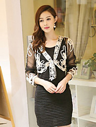 Coats/Jackets Long Sleeve Lace Black / White / Gold / Almond Party/Evening / Casual