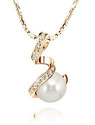 Shining Austria Crystal White Imitation Pearl Charm Pendant Necklace