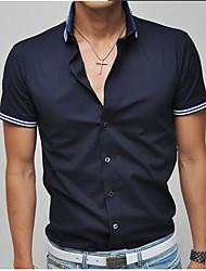 Fengshang Casual Short Sleeve Shirt(Dark Blue)