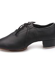 Мужская кожа на шнуровке Современная танцевальная обувь с Металлической Эмблемой