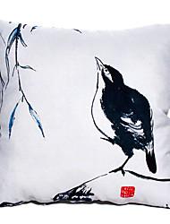 Pintura a tinta Oriental estilo antigo Pássaro Padrão Novidade Pillow Com Insert