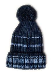 Pompom Beanie avec la rayure Knited Cap acrylique souple de chapeau Taille unique pour enfants Noir avec Gris