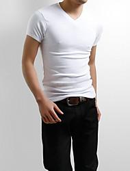 Tee-Shirt Pour des hommes Couleur plaine Décontracté / Sport Manches Courtes Mélange de Coton Noir / Violet / Blanc / Gris