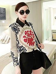 Mujeres Vintage Flor Redondo Imprimir suéter del suéter de manga larga