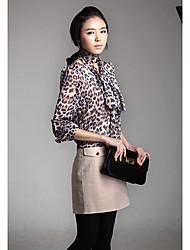 Mujeres Leopard Print vestir de manga larga