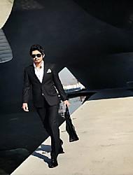 Traje formal de los hombres de la boda (Blazer y pantalón) dos botones negros ocasionales delgadas Suits Hombres de Negocios