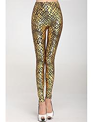 Mulheres metálicas Escala Veias Leggings Ouro