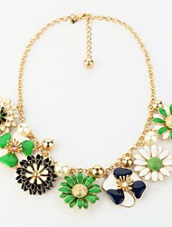 Fashion Fresh Summer Flowers Alloy Bib Necklace