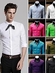Tee shirt robe chemise d'affaires de la mode pure Top hommes de couleur manches longues