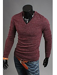 Men's Solid Casual T-Shirt,Cotton Blend Long Sleeve-Brown / Red / White / Gray