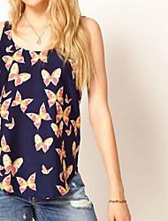 Women's Chiffon Butterfly Print Vest