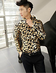 Men's Fashion Brand High Quality Long Sleeve Slim Shirt