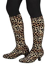 De las mujeres del leopardo del terciopelo de baile latino zapatos de los cargadores