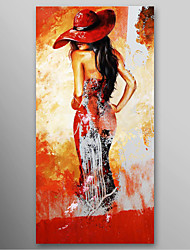 Hand Painted Oil Painting Modern Lady in Red Hat with Stretched Frame Ready to Hang