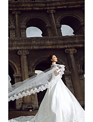 Wedding Veil One-tier Cathedral Veils Lace Applique Edge 196.85 in (500cm) Tulle White / Ivory White / IvoryA-line, Ball Gown, Princess,