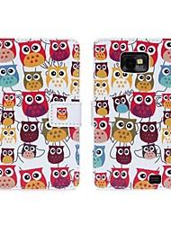 Belle Owl Cartoon Motif Faux Leather Case Flip avec la carte Slots & Fermeture pour Samsung Galaxy S2 I9100