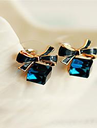 Ablla Frauen Elegante klassische Quadratische Kristallohrstecker (Royal Blue)