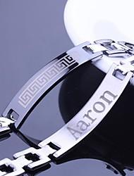 Jóias de padrão personalizado Presente parede Design Homens de aço inoxidável gravado ID pulseiras 1,2 centímetros Largura
