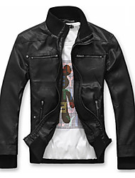 Men's Long Sleeve Casual Jacket,Faux Leather Solid Black