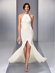Homecoming Formal Evening Dress - Ivory Sheath/Column Halter Sweep/Brush Train Chiffon
