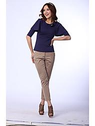 Purple ½ Shirt Base Collar Redondo Longitud de la manga de la camiseta de la Z-Mostrar Mujeres