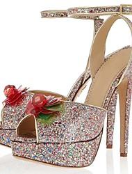 Sparkling Glitter Women's Wedding Stiletto Heel Platform Sandals Shoes
