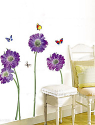 1PCS Colorful Butterflies plus de fleurs Enviromental Wall Sticker