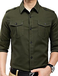 Men's Military-style Epaulettes Leisure Long-sleeved Shirts