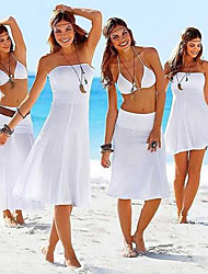 Women's White/Black/Blue Strapless Summer Beach Sexy Dress
