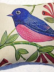 Coussin décoratif Motif Pays oiseau rose avec insert