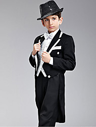 Seven Pieces Black And Silver Swallow-tail Ring Bearer Suit With Two Bow Ties