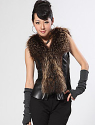 Fur Vest With Beautiful Raccoon Fur Shawl Collar Lambskin Leather Casual/Party Vest (More Colors)