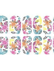 12 PCS Full Cover 3D Colorful Leaves Nail Wrap