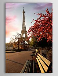 Натяжные Печать холст искусства Пейзаж Заход Эйфелевой башни, Франция