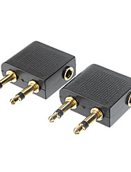 3.5mm stereo plug adapter (zwart)