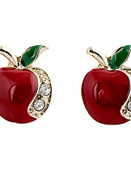 Sweet Red Apple Clear Rhinestone With Gold Alloy Stud Earrings (1 Pair)