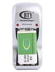 BTY-812B-Ladegerät für AA AAA 9V-Batterie mit US-Stecker (inklusive 1x9V)