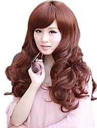 Mujeres con estilo bang lado largas sintéticas pelucas onduladas 5 colores disponibles