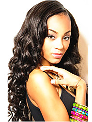 18Inch Brazilian Remy Hair Wavy Left Part Lace Front Wig with Baby Hair
