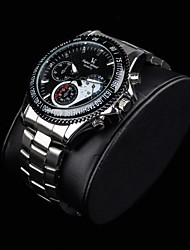 Men's Stylish Racing Dial Steel Band Quartz Wrist Watch