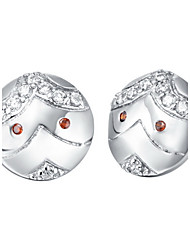 Special Silver Plated Silver With Red Cubic Zirconia Eye Face Women's Earring