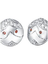 Sonder versilbert Silber mit Zirkonia Red Eye Face Damen-Ohrring