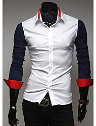 Men's Color Block Casual Shirt,Cotton Long Sleeve Black / Blue