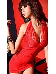 Women's Club Sexy Bodycon / Lace Dress,Solid Halter Mini Sleeveless Red / Black Polyester / Spandex / Others Summer