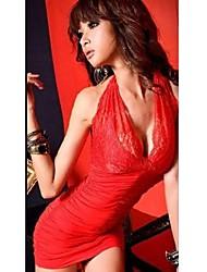 Mulheres Bandagem / Rendas Vestido,Bandagem Sensual Sólido Nadador Mini Sem Manga Vermelho / Preto Poliéster / Elastano / Outros Verão